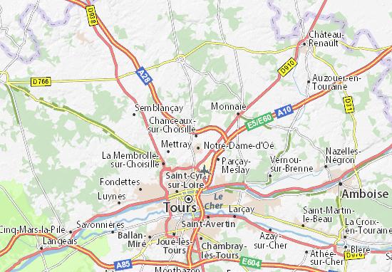 Karte Stadtplan Chanceaux-sur-Choisille