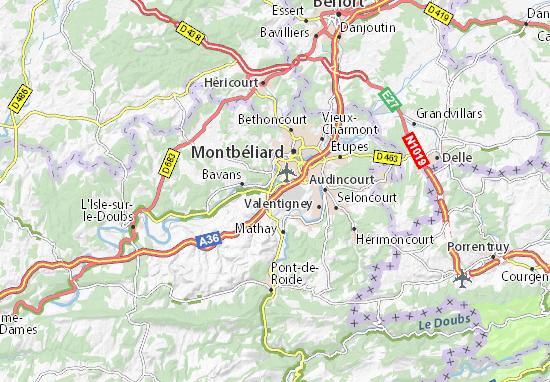 Karte Stadtplan Voujeaucourt
