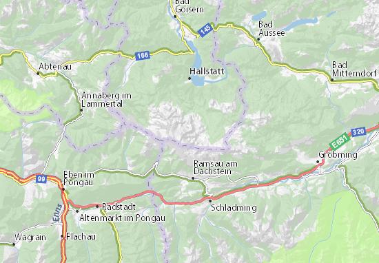 Dachstein Karte.Karte Stadtplan Dachsteingruppe Viamichelin
