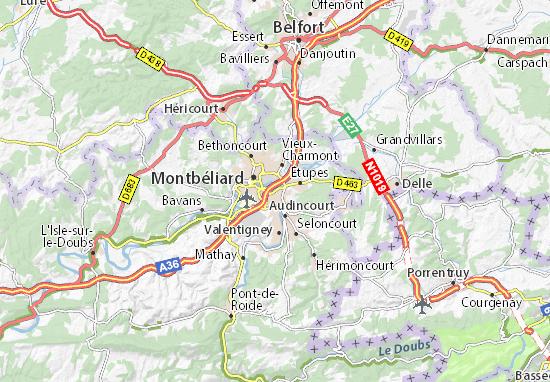 Karte Stadtplan Exincourt