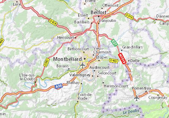 Karte Stadtplan Montbéliard