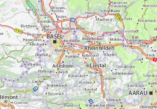 Karte Stadtplan Pratteln