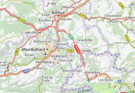 Mapas-Planos Fesches-le-Châtel