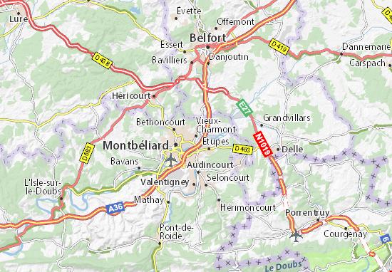 Mapa Plano Vieux-Charmont