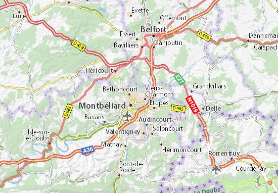Karte Stadtplan Grand-Charmont