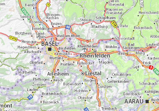 Kaart Plattegrond Kaiseraugst