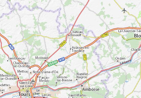 Kaart Plattegrond Auzouer-en-Touraine