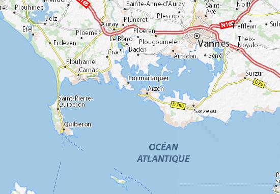 Carte d taill e port du crouesty plan port du crouesty viamichelin - Port du crouesty restaurant ...