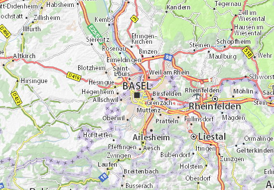 Map of Basel Michelin Basel map ViaMichelin – St Louis Tourist Attractions Map