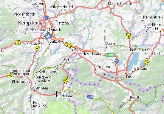 Karte Stadtplan Nesselwang