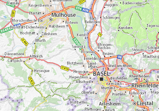 Kaart Plattegrond Bartenheim