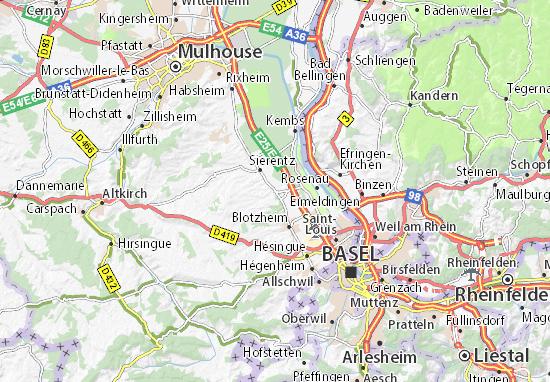 Karte Stadtplan Bartenheim