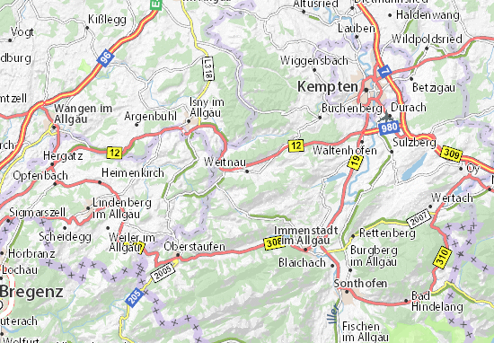 Karte Stadtplan Weitnau