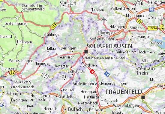 Kaart Plattegrond Neuhausen am Rheinfall