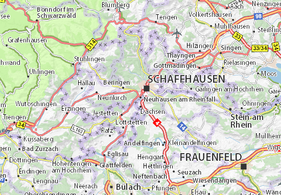 Karte Stadtplan Neuhausen am Rheinfall