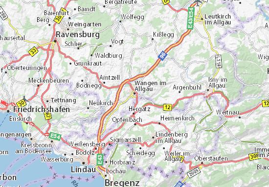 Karte Stadtplan Wangen im Allgäu