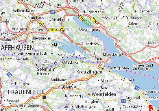 Insel Reichenau Karte.Karte Stadtplan Reichenau Viamichelin