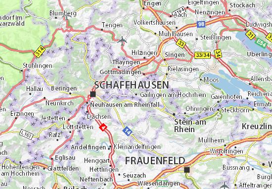 Karte Stadtplan Gailingen am Hochrhein