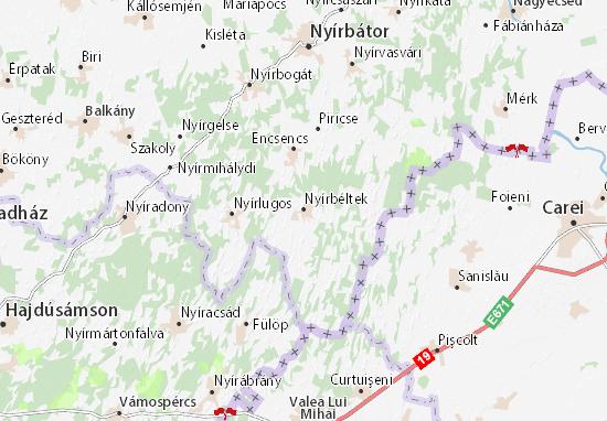 Nyírbéltek Map