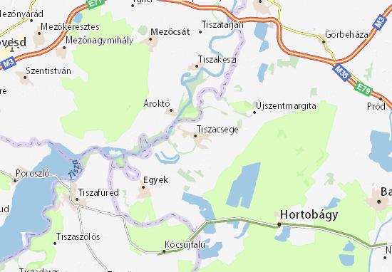 Tiszacsege Map