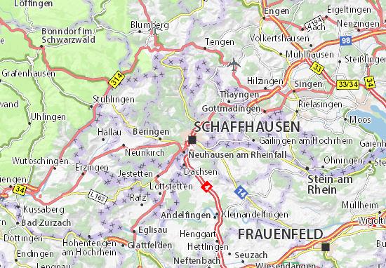 Kaart Plattegrond Schaffhausen