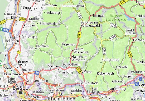 Zell im Wiesental Map