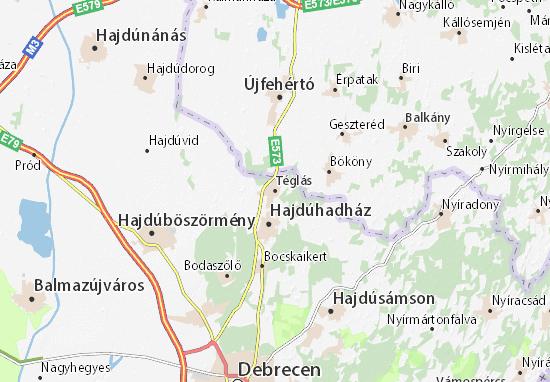 Téglás Map