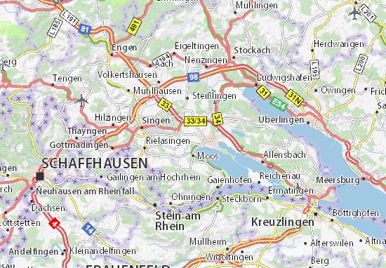 Detailed Map Of Bohringen Bohringen Map Viamichelin