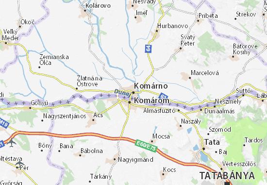 Karte Stadtplan Komárno
