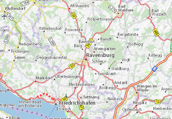 Kaart Plattegrond Ravensburg