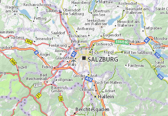 Map of Salzburg Michelin Salzburg map ViaMichelin – Salzburg Tourist Map