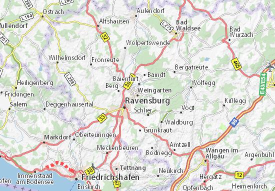 Karte Stadtplan Weingarten