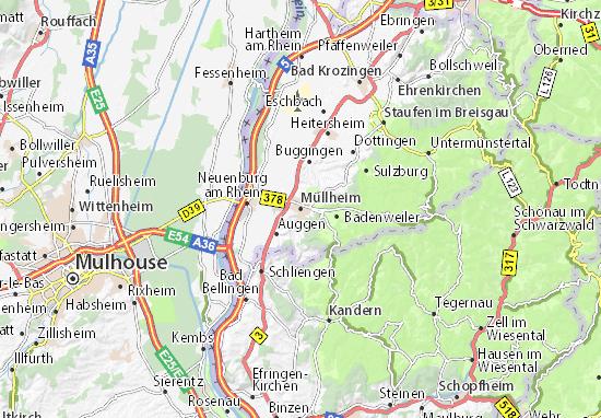Kaart Plattegrond Müllheim