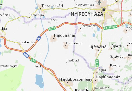 Hajdúdorog Map