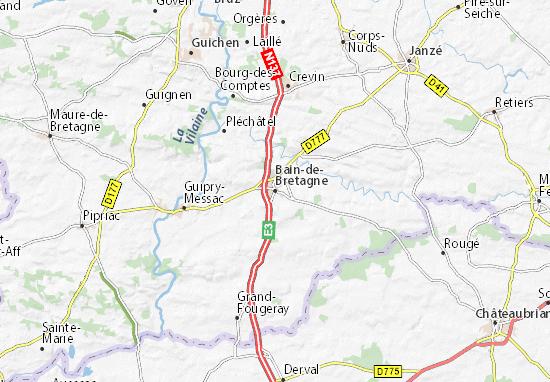 Kaart Plattegrond Bain-de-Bretagne