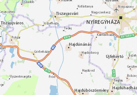 Hajdúnánás Map