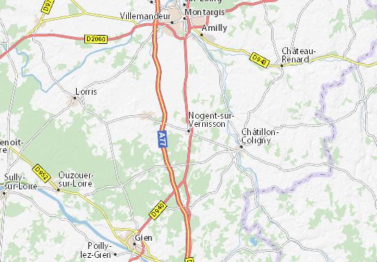 Kaart Plattegrond Nogent-sur-Vernisson