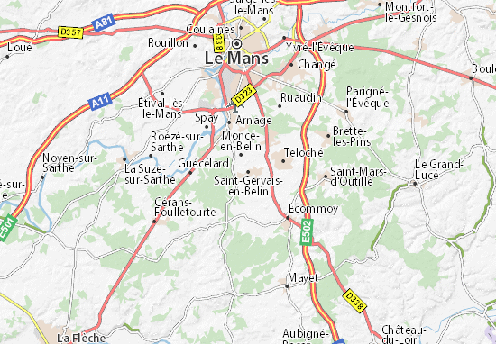 Carte-Plan Saint-Gervais-en-Belin