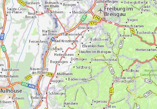 Kaart Plattegrond Staufen im Breisgau