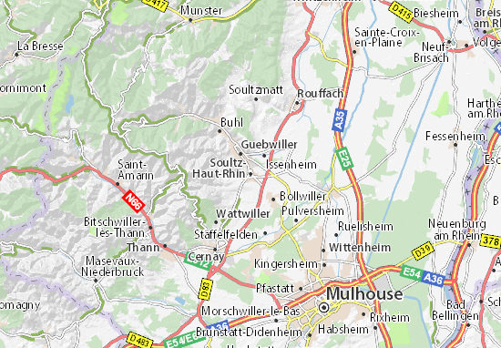 Kaart Plattegrond Soultz-Haut-Rhin