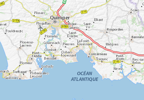 Carte Bretagne Sud Detaillee.Carte Detaillee Fouesnant Plan Fouesnant Viamichelin