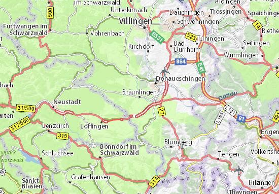 Karte Stadtplan Bräunlingen