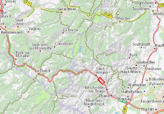 Carte Alsace Thann.Carte Detaillee Kruth Plan Kruth Viamichelin