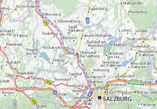 Kaart Plattegrond Oberndorf bei Salzburg