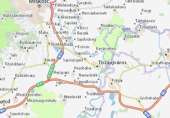 Sajószöged Map