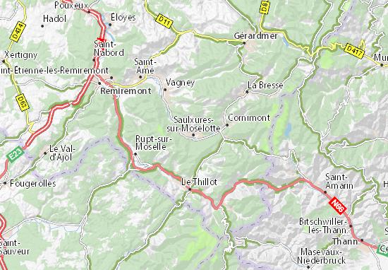 Kaart Plattegrond Saulxures-sur-Moselotte