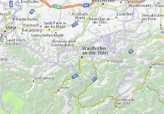 Karte Stadtplan Waidhofen an der Ybbs