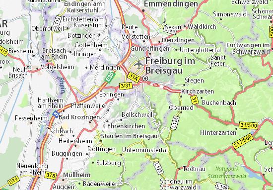 Freiburg Karte.Karte Stadtplan Merzhausen Viamichelin