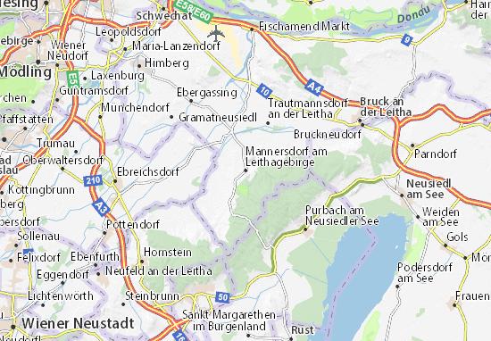 Mapa Plano Mannersdorf am Leithagebirge