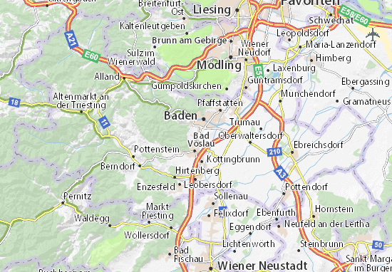 Karte Wien Niederosterreich.Karte Stadtplan Sooss Viamichelin